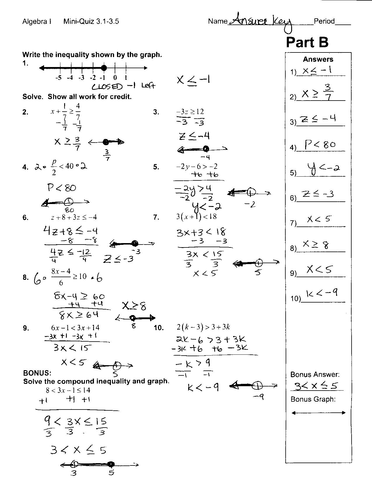 Algebra Worksheet - City Elementary